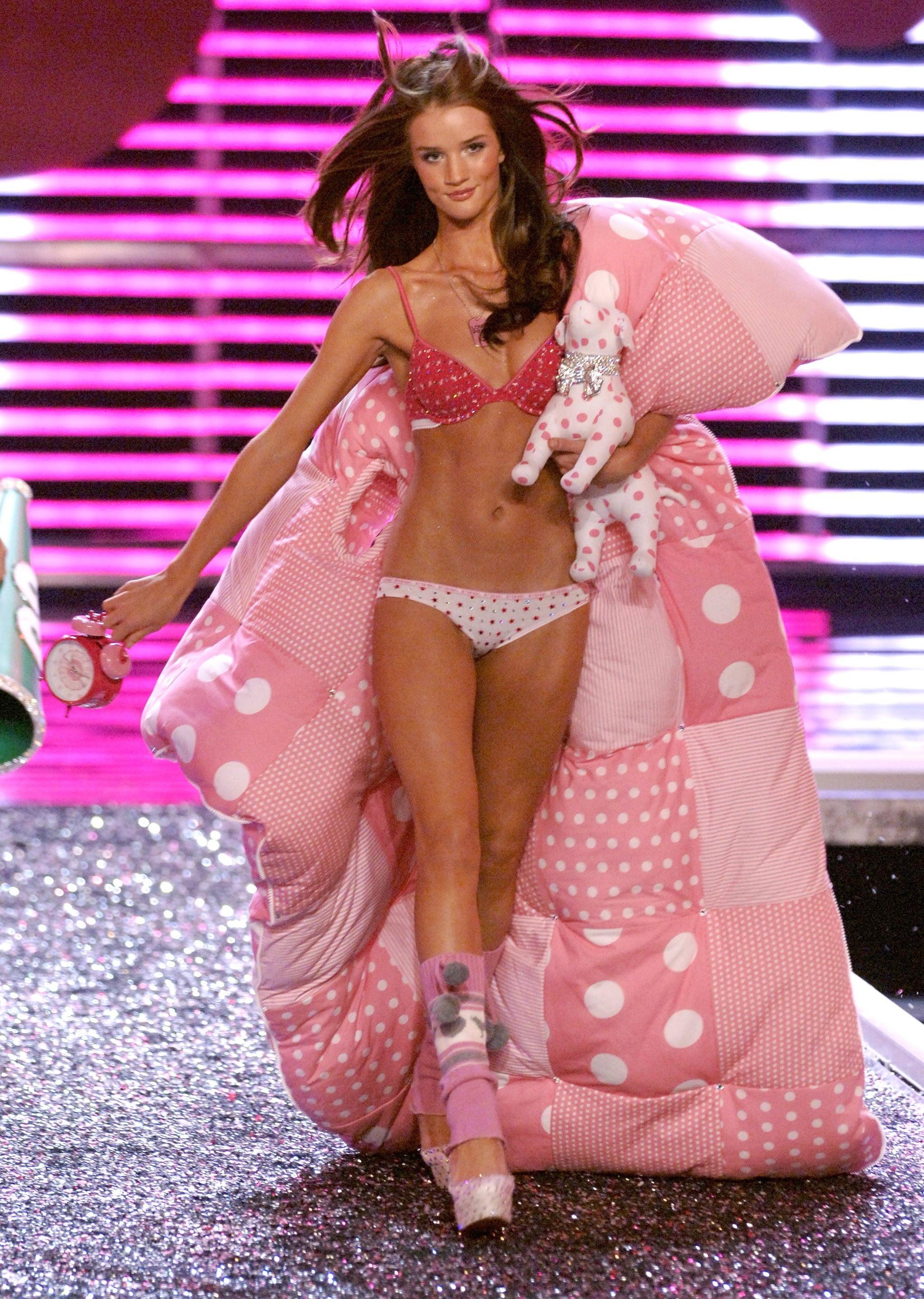 Rosie Huntington-Whiteley walked the runway in pink polka dots and a cozy sleeping bag in 2006.