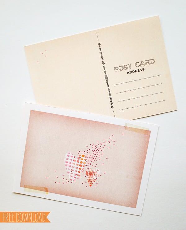 Lovely Postcard Valentine's Printable