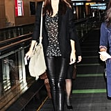 Miranda made her way through Tokyo's airport.