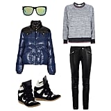 If ever there was time to embrace the sporty trend, it's now. Athletic-inspired sweatshirts, slick leather bottoms, mirrored shades, and on-trend high-tops are the ideal accompaniments to your coolest puffer. Get the look:  Sabre Heartbreaker Sunglasses ($110) Pyrenex Gloss Padded Jacket ($467) Steve Madden Hilight Sneakers ($150) Isabel Marant Etoile Raglan Sweatshirt ($265) Blk Denim Biker-Style Leather Trousers ($959)