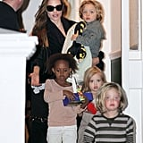 Angelina Jolie picked Knox Jolie-Pitt and Vivienne Jolie-Pitt up from a playdate at Gwen Stefani's home in London with their sisters, Zahara Jolie-Pitt and Shiloh Jolie-Pitt, in September 2011.