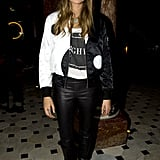 Cara Delevingne stuck to black and white at the Dominic Jones afterparty.
