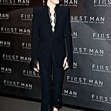 When in France, Claire looked incredibly chic in a black trouser suit that featured delicate lace detailing.