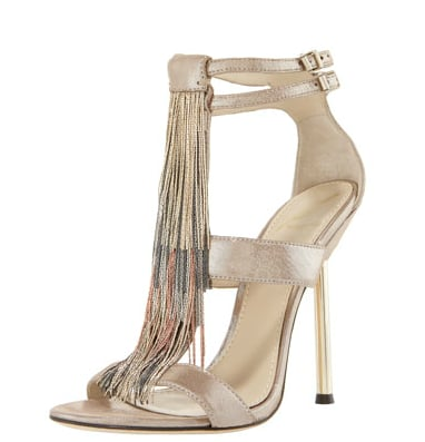 These metallic fringed heels will add a jolt of fun to any fancy ensemble.  V Brian Atwood Chain Fringe Sandal ($212, originally $425)