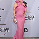 Emily Wore a Pink Michael Kors Collection Gown on the Red Carpet