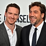 Michael Fassbender and Javier Bardem posed together at The Counselor premiere in London.