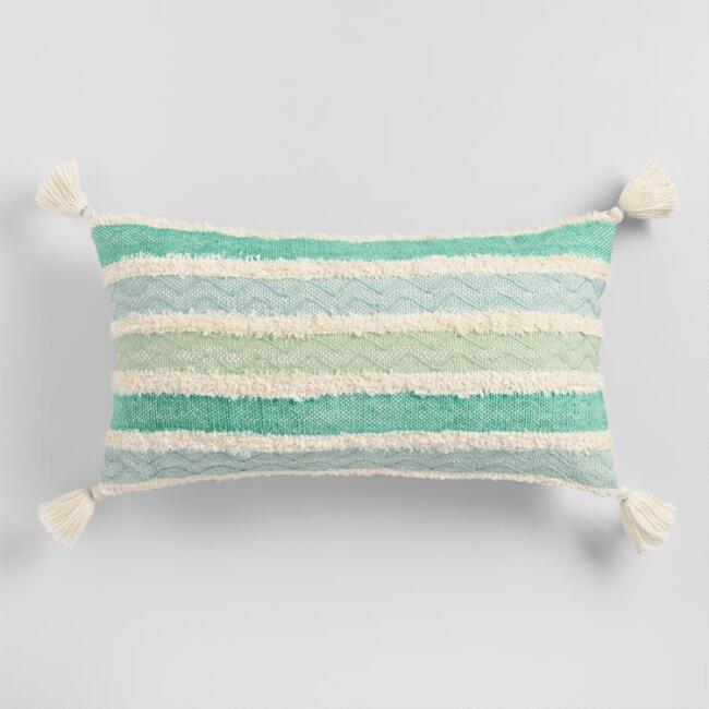 Oversized Aqua Stripe Indoor Outdoor Lumbar Pillow