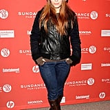 Kate Mara cozied up in a leather jacket and hat in 2010.