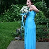 """Blue always has and always will be my favorite color, so I knew I had to wear a blue gown for my last big dance. This dress was one of the first I tried on — it was a perfect fit. The Grecian-style top really worked on my smaller bust, and the bottom flowed out just enough that I could comfortably bust a move on the dance floor. If I ever get married, I would love to wear a white version of this gown."" — Leah Rocketto"