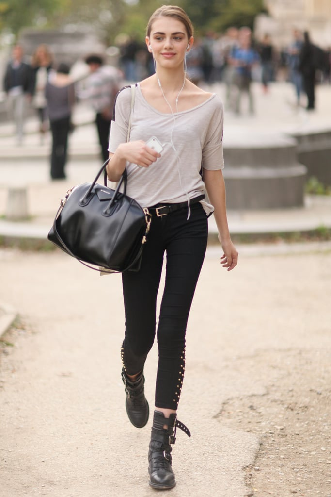 Biker boots and a Givenchy bag were the standouts in this dressed-down style.