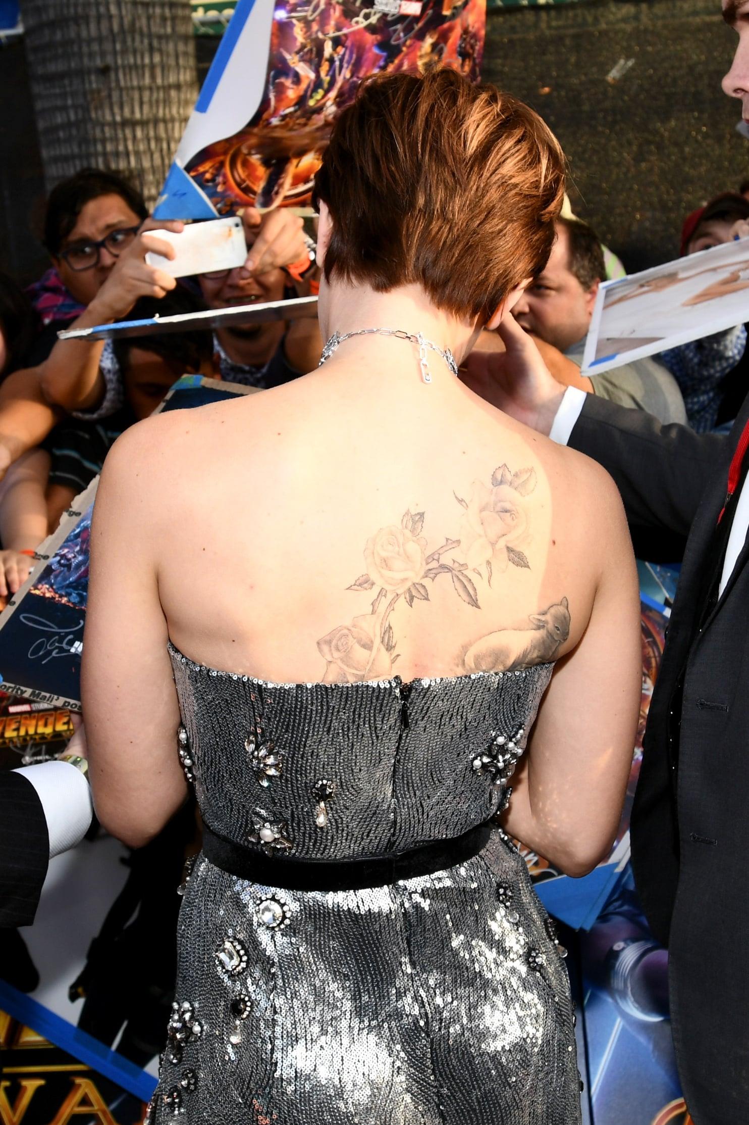 Scarlett Johansson S Back Tattoo Popsugar Celebrity