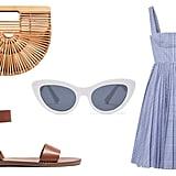 Zara Plastic Cat Eye Sunglasses ($26). Cult Gaia Small Gaia's Ark Bag ($148). Madewell the Boardwalk Ankle-Strap Sandal ($60).