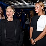 Ellen DeGeneres and Portia de Rossi got ready to take the stage together.