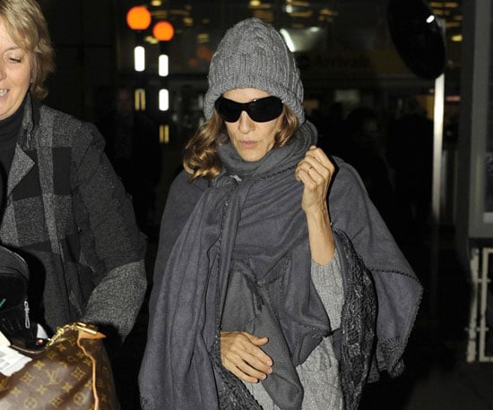 Slide Photo of Sarah Jessica Parker Wearing Hat and Scarf in London