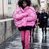 Go bold in colour and in silhouette with an oversized pink puffer this winter.