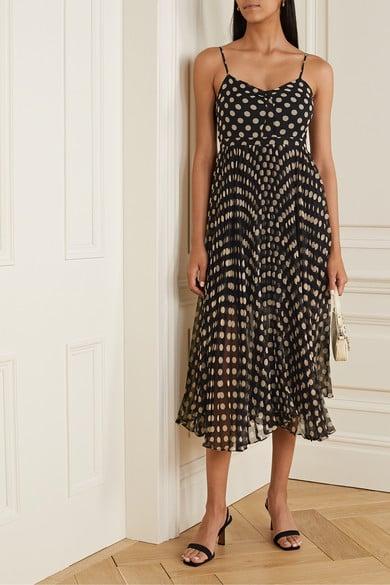 Laura Garcia Georgiana Pleated Polka-Dot Silk-Chiffon Midi Dress