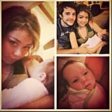 Sarah Hyland visited TV director Paul Shapiro's new baby. Source: Instagram user therealsarahhyland