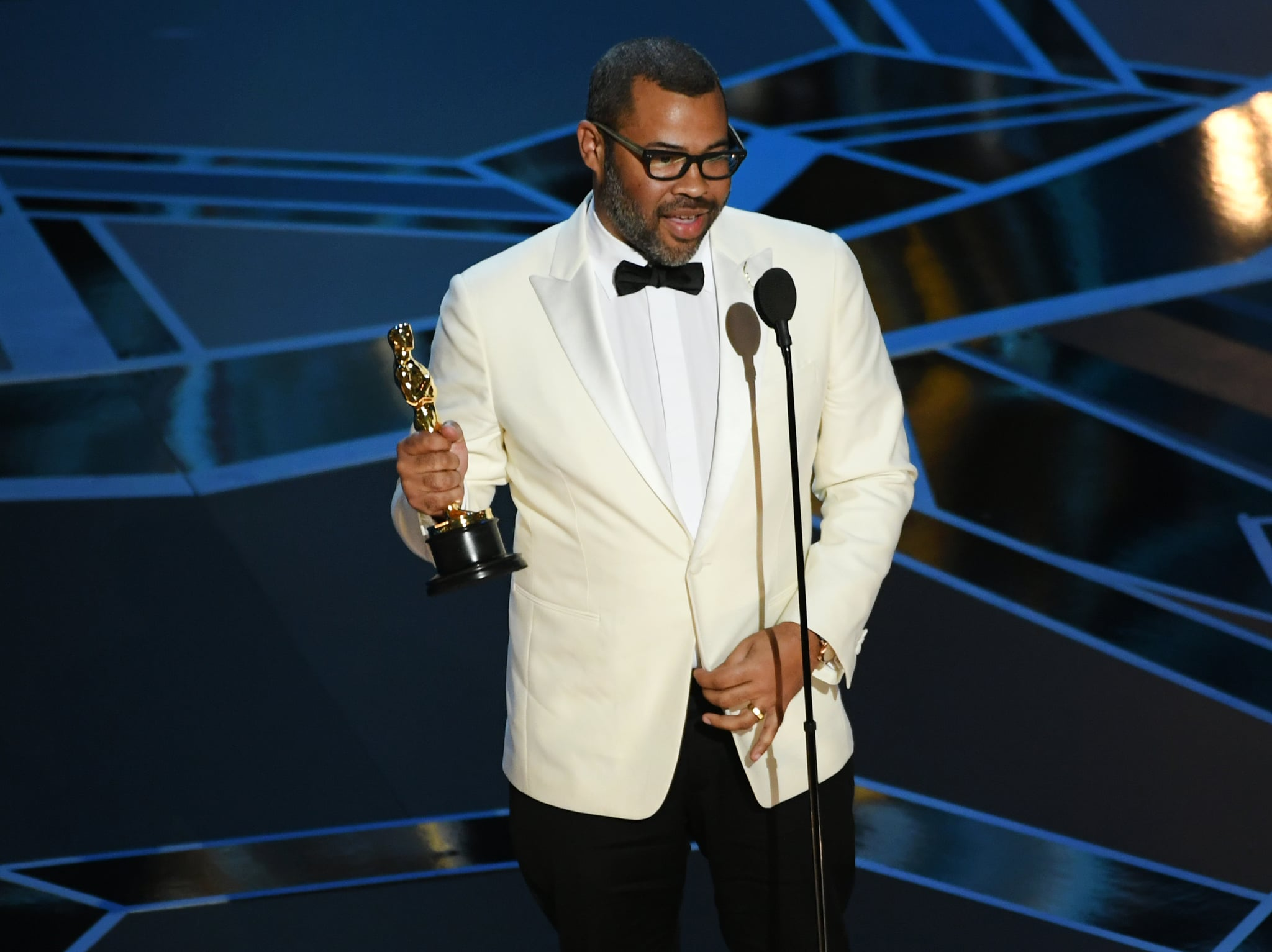 HOLLYWOOD, CA - MARCH 04:  Writer/director Jordan Peele accepts Best Original Screenplay for 'Get Out' onstage during the 90th Annual Academy Awards at the Dolby Theatre at Hollywood & Highland centre on March 4, 2018 in Hollywood, California.  (Photo by Kevin Winter/Getty Images)