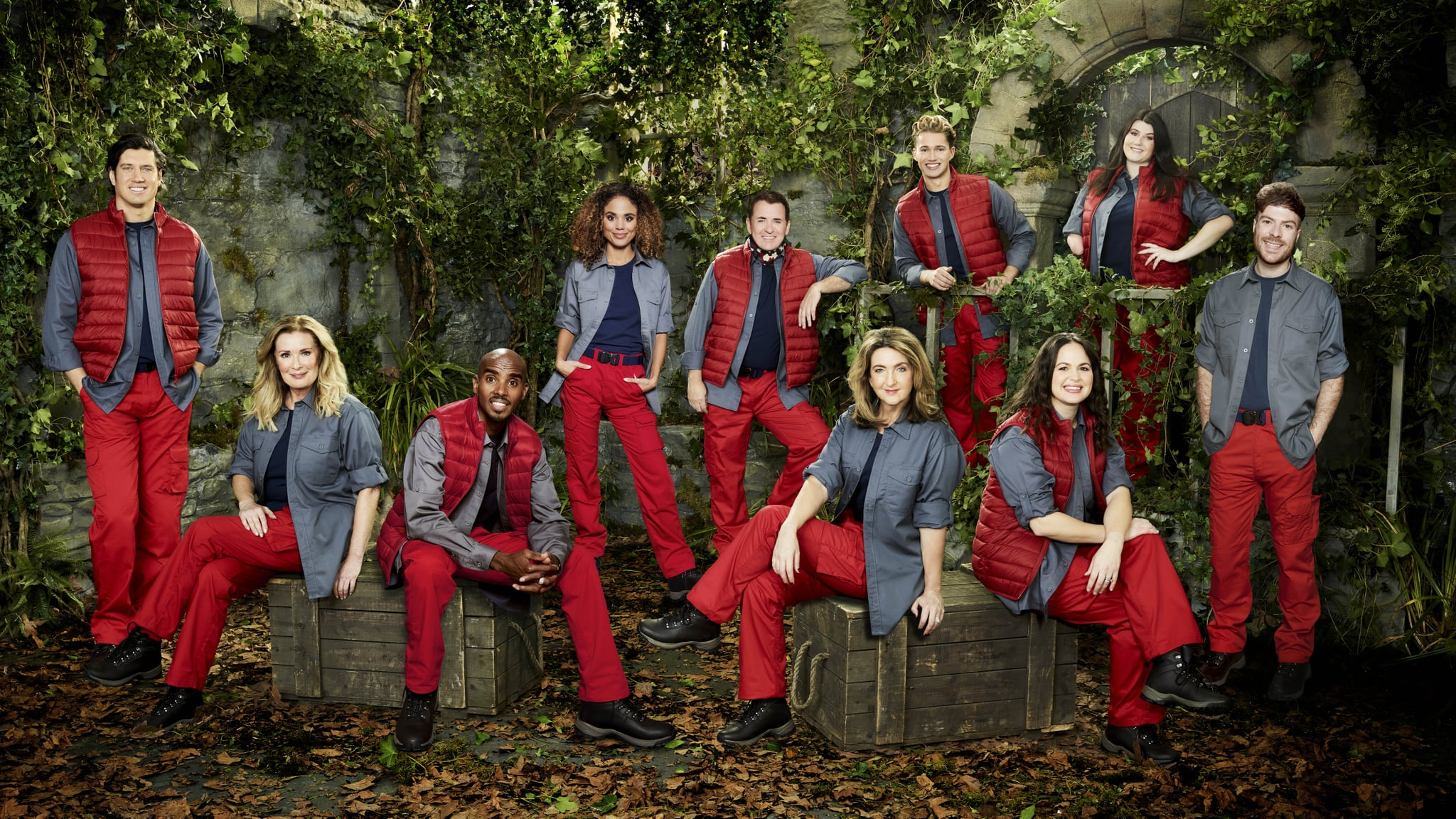 IMAGE MUST BE CREDITED TO ITV. Undated handout photo issued by ITV of (left to right) Vernon Kay, Beverley Callard, Sir Mo Farah CBE, Jessica Plummer, Shane Richie, Victoria Derbyshire, AJ Pritchard, Giovanna Fletcher, Hollie Arnold MBE and Jordan North, stars featuring in the new series of I'm A Celebrity??? Get Me Out Of Here! Issue date: Sunday November 8, 2020. The new series, hosted by Ant and Dec, will take place at Gwrych Castle in Wales rather than the usual location in the Australian jungle due to coronavirus restrictions. See PA story SHOWBIZ Celebrity. Photo credit should read: ITV/PA Wire NOTE TO EDITORS: This handout photo may only be used in for editorial reporting purposes for the contemporaneous illustration of events, things or the people in the image or facts mentioned in the caption. Reuse of the picture may require further permission from the copyright holder.