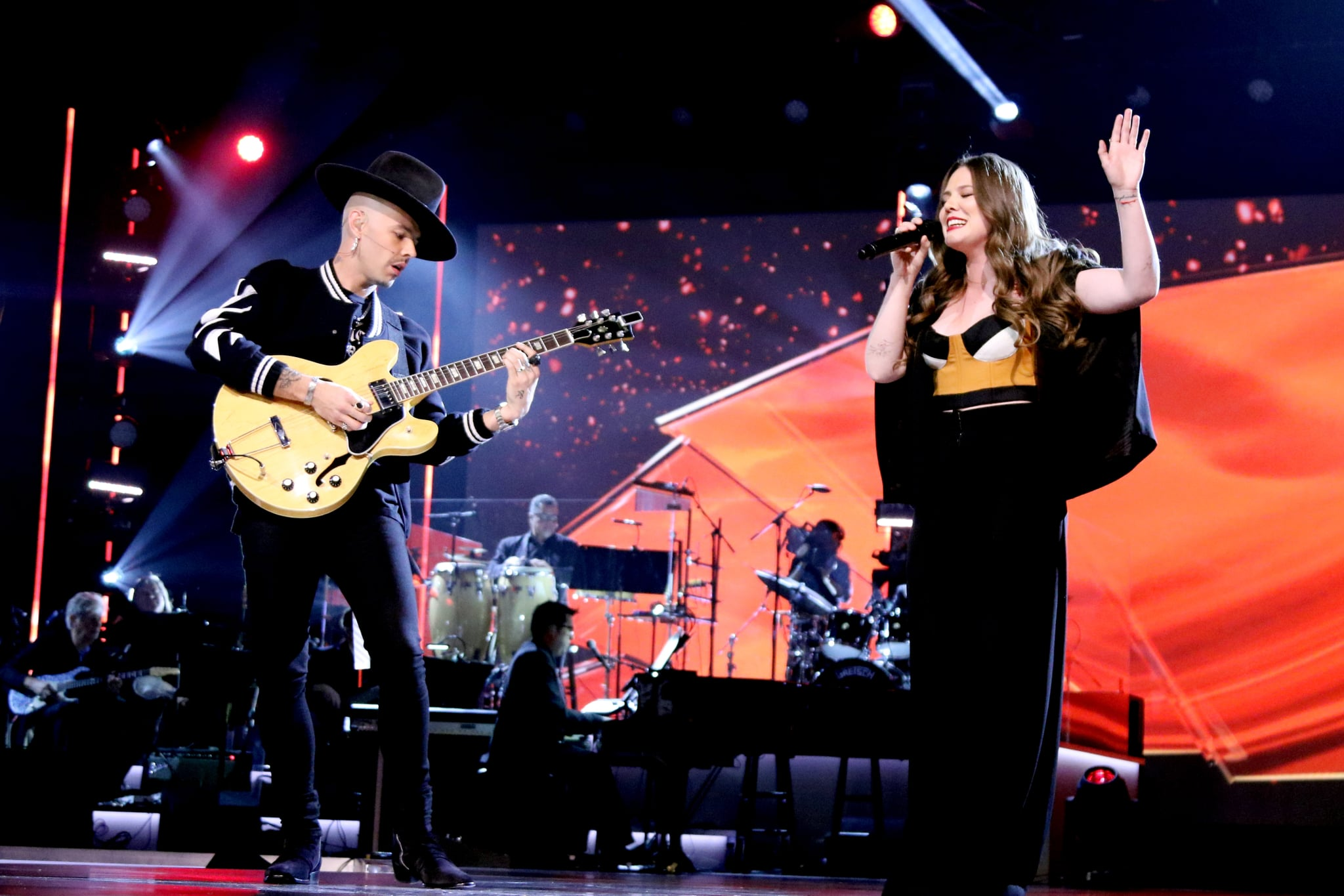 LAS VEGAS, NV - NOVEMBER 15:  Jesse Huerta (L) and Joy Huerta of Jesse y Joy perform onstage during the 2017 Person of the Year Gala honoring Alejandro Sanz at the Mandalay Bay Convention Center on November 15, 2017 in Las Vegas, Nevada.  (Photo by John Parra/Getty Images for LARAS)