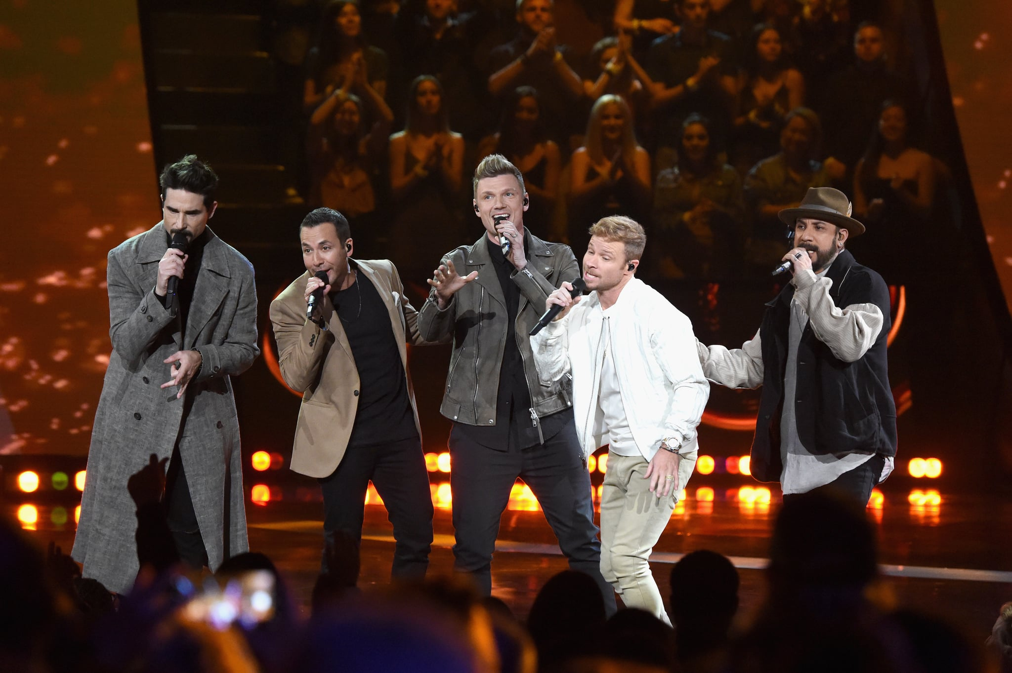 LOS ANGELES, CALIFORNIA - MARCH 14: (EDITORIAL USE ONLY. NO COMMERCIAL USE)  The Backstreet Boys perform on stage at the 2019 iHeartRadio Music Awards which broadcasted live on FOX at Microsoft Theater on March 14, 2019 in Los Angeles, California. (Photo by Kevin Mazur/Getty Images for iHeartMedia)