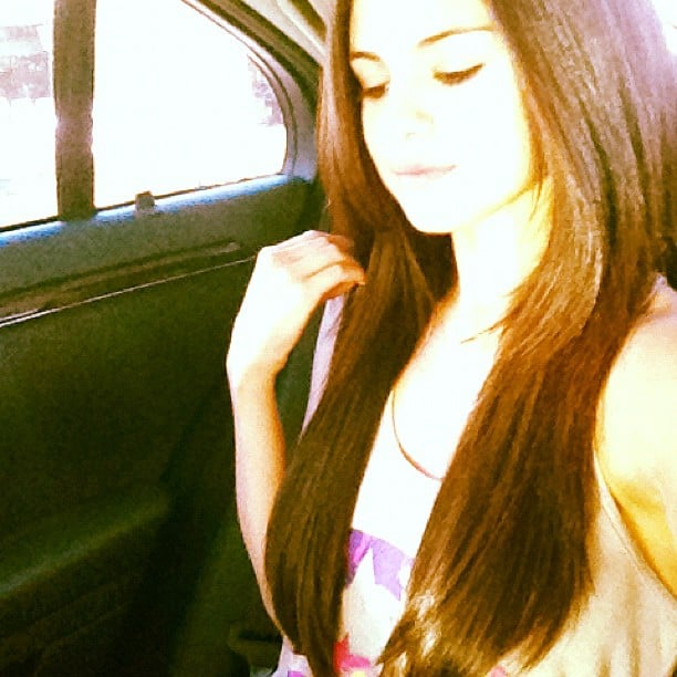 Selena Gomez shows off her new longer locks for a new movie role.