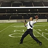 President Barack Obama played some football at Soldier Field, the home of the Chicago Bears.  Source: Twitter user BarackObama