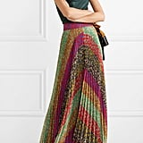 Alice + Olivia Katz Pleated Printed Georgette Maxi Skirt