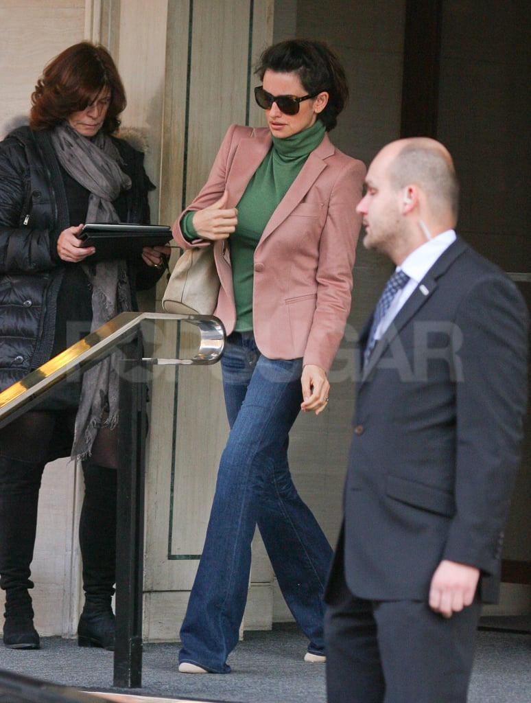 Penelope Cruz left The Berkeley hotel in London.