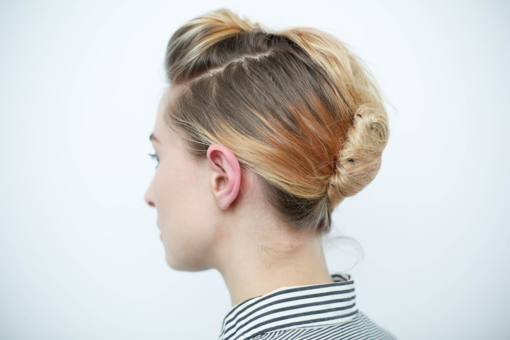Here is a look at the french twist from the side.