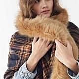Fur-Trimmed Plaid Poncho