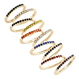 BP. Set of 10 Rainbow Pavé Rings