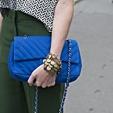 Bright blue added an eye-catching finish to a classic Chanel bag.