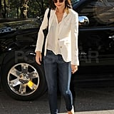 Katie Holmes headed to her meeting following her late night flight in from the West Coast.