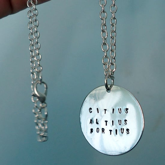 Citius, Altius, Fortius Hand-Stamped Necklace