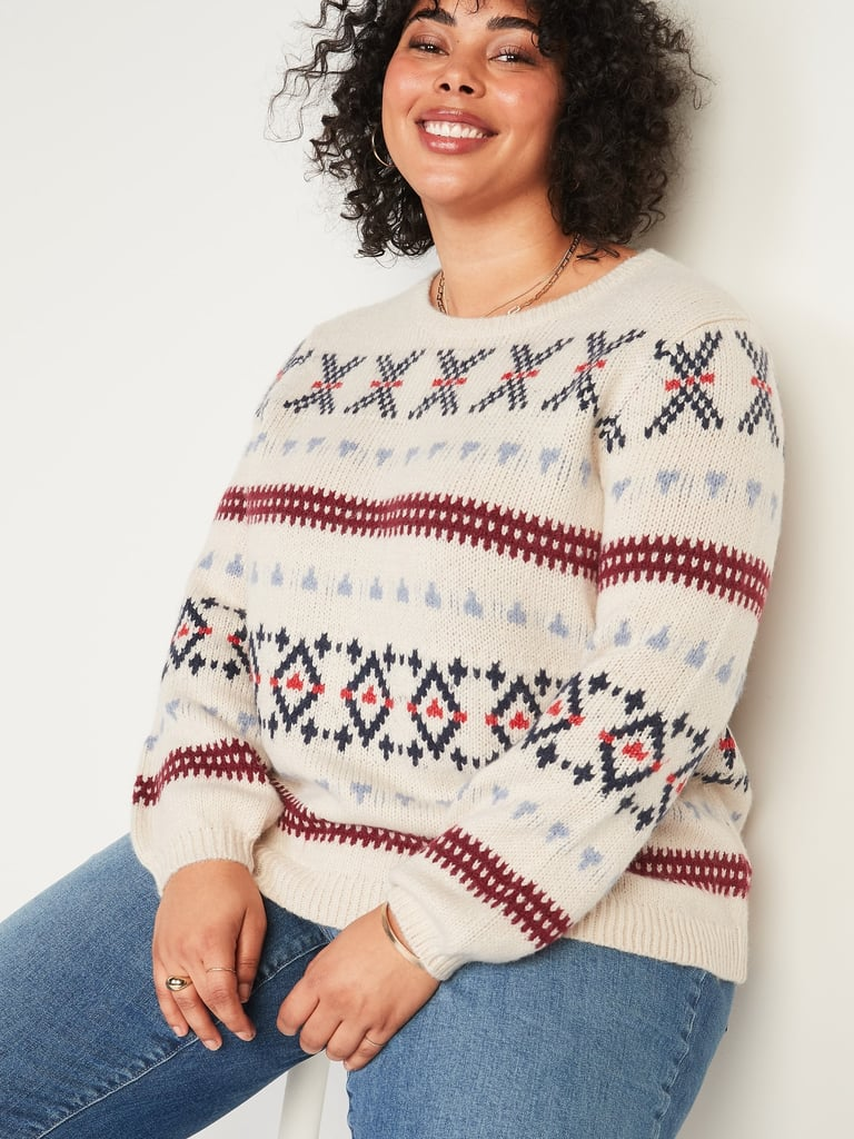 Fair Isle Blouson-Sleeve Plus-Size Sweater