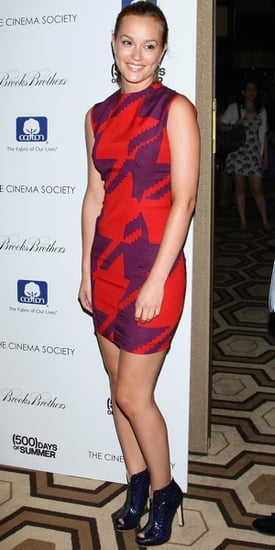 Photo of Leighton Meester Wearing Red and Purple Shift Dress in NYC