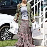 Jennifer Lawrence wore a long flowing skirt as she ran errands in LA.