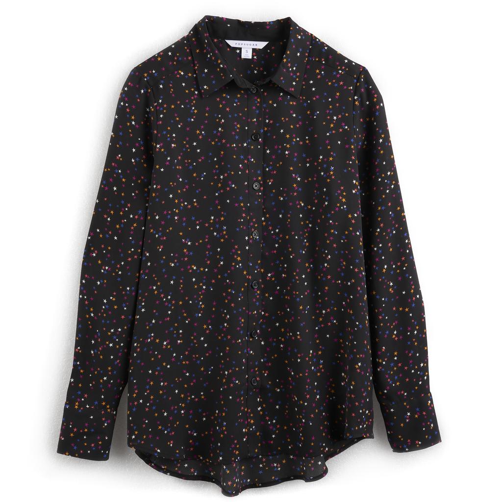 قميص كلاسيكيّ بالأسود القاتم وطبعة النّجوم الصغيرة