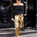 Hailey's Sally LaPointe lamé trousers were a step ahead of the trends on the streets of New York in February. She worked them with a pair of Jimmy Choo pumps and Tiffany & Co. jewels.