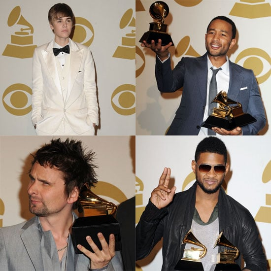 Pictures of Justin Bieber, Usher, John Legend, and Matt Bellamy in the 2011 Grammys Press Room 2011-02-14 06:53:43