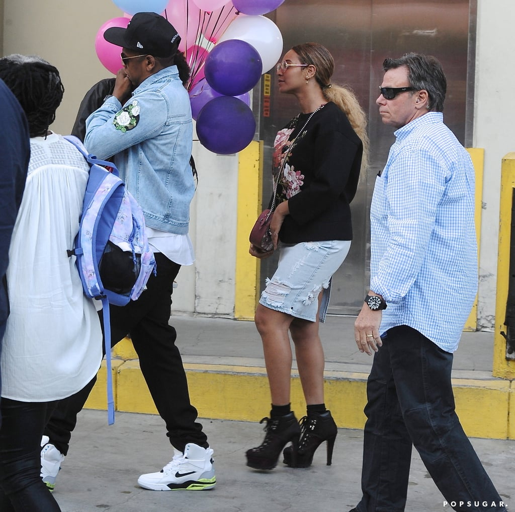 """After their cute basketball date last week, Beyoncé and Jay Z are at it again. On Saturday, the famous duo attended a children's birthday party at Giggles N' Hugs in LA with their daughter, Blue Ivy, in tow. Although there is no word on who the birthday girl or boy was, the event also brought out Beyoncé's BFF Kelly Rowland and actress Ellen Pompeo, who was joined by husband Chris Ivery. Beyoncé's had quite the eventful month, what with her earth-shattering Super Bowl halftime performance and her sweet date nights with Jay Z. And who could forget the release of her groundbreaking single """"Formation""""? Keep reading to see more of Beyoncé and Jay Z, and then relive their romance through pictures."""