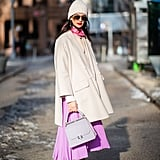 Winter Outfit Idea: A Pastel Skirt and a White Coat