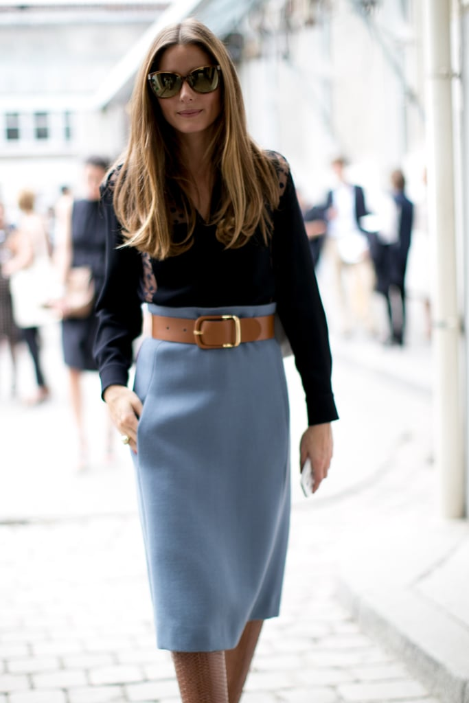 Olivia Palermo's trick to amping up her pencil skirt? Cinch the waist with a statement belt.