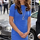 The Duchess was in a bright colour compared to her usual pastels.