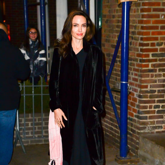 Angelina Jolie Wearing Black Velvet Robe