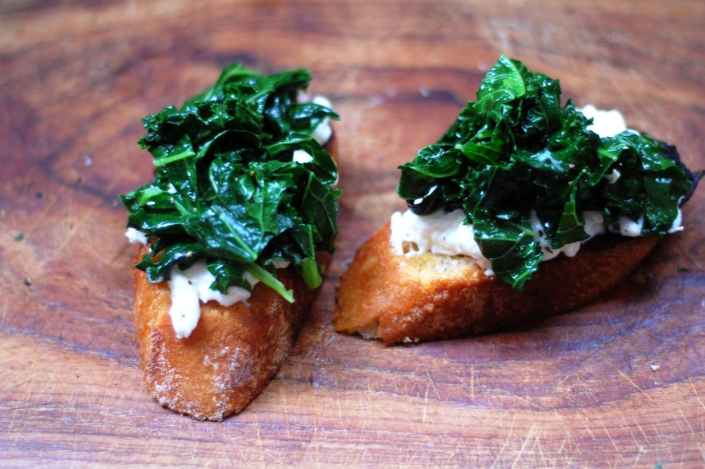 Sautéed Kale and Burrata Bruschetta