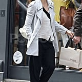 Jessica Biel went shopping in Paris wearing her engagement ring.