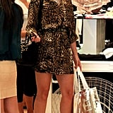 Sophia Bush splurged at Switch boutique in Beverly Hills in an animal print mini dress and Dior sandals — sassy!
