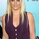 Britney Spears posed at the Fox Upfronts party at a skating rink in Central Park.